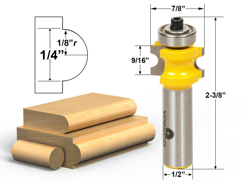 "Bullnose Router Bit 1/8""r - 1/4"" bead - 1/2"" Shank - Yonico 13113"