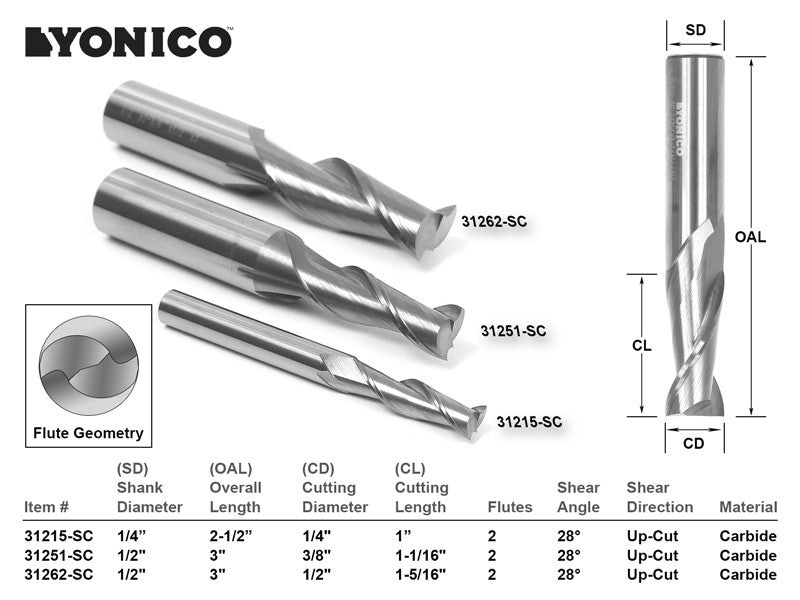 3 Bit Solid Carbide Spiral Upcut Finisher CNC Router Bit Set - Yonico 14320
