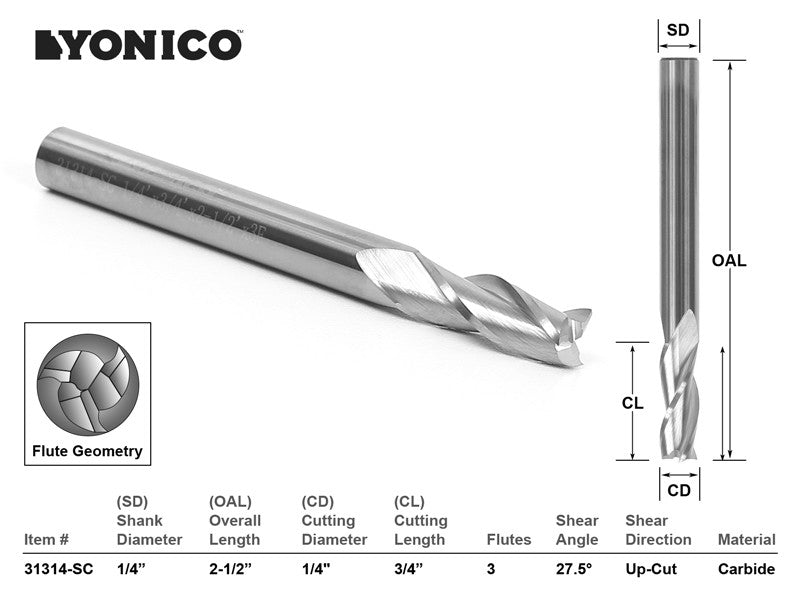 "CNC Router Bit Up Cut Solid Carbide 1/4"" X 3/4"" X 1/4"" X 2-1/2"" -YONICO 31314-SC"