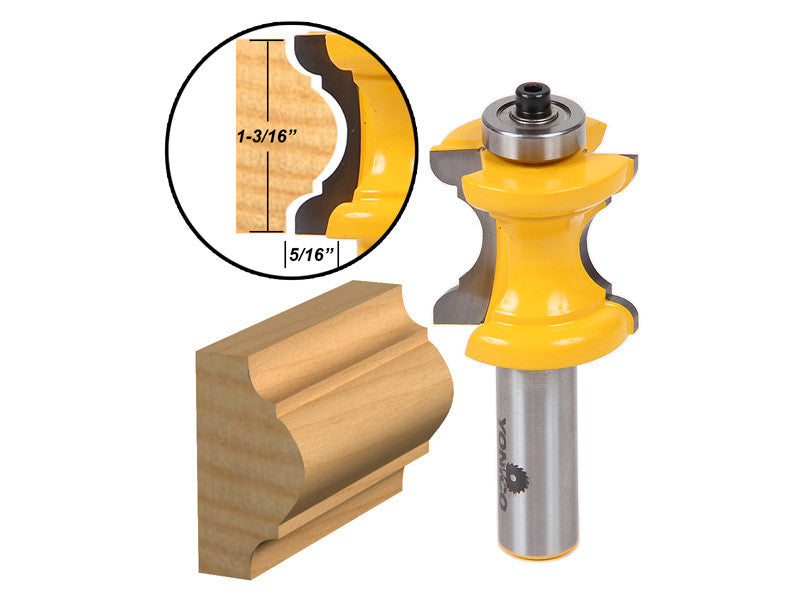 "Bullnose with Bead Column/Face Molding Router Bit - 1/2"" Shank - Yonico 13101"