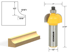 "Cove Edging and Molding Router Bit - 5/16"" Radius - 1/2"" Shank - Yonico 13153"