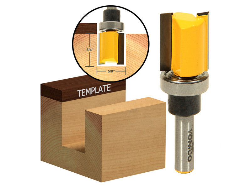 "Flush Trim/Template Router Bit with Shank Bearing - 5/8"" x 3/4"" -Yonico 14124q"