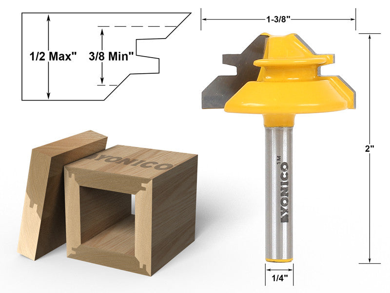 "Small Lock Miter Router Bit - 45° - 1/2"" Stock - 1/4"" Shank - Yonico 15129q"