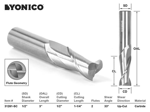 "CNC Router Bit Up Cut Solid Carbide 1/2"" X 1-1/4"" X 1/2"" X 3"" - YONICO 31261-SC"