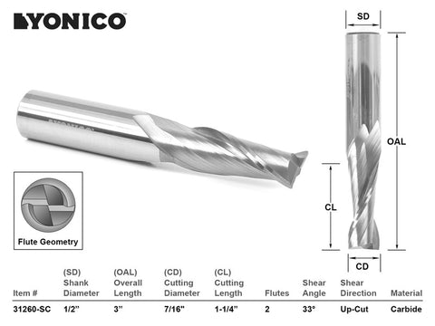 "CNC Router Bit Up Cut Solid Carbide 7/16"" X 1-1/4"" X 1/2"" X 3"" - YONICO 31260-SC"