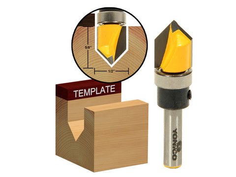 "90° V Groove Router Bit with Shank Bearing - 1/2"" x 5/8"" -  Yonico 14989q"