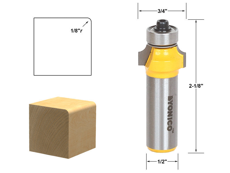 "Round Over Edging Router Bit - 1/8"" Radius - 1/2"" Shank - Yonico 13161"