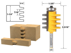 "Reversible Finger Joint Glue Joint Router Bit - 1/4"" Shank - Yonico 15131q"