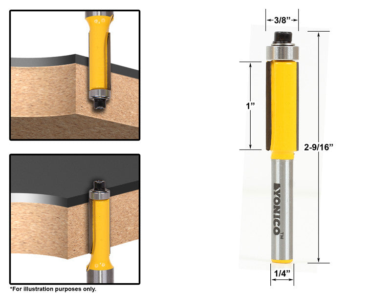 "Flush Trim Router Bit End Bearing - 3/8""W X 1""H - 1/4"" Shank - Yonico 14145q"