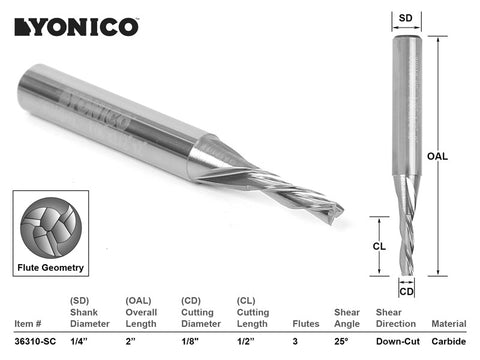 "CNC Router Bit Low Helix Down Cut 1/8"" X 1/2"" X 1/4"" X 2"" - YONICO 36310-SC"