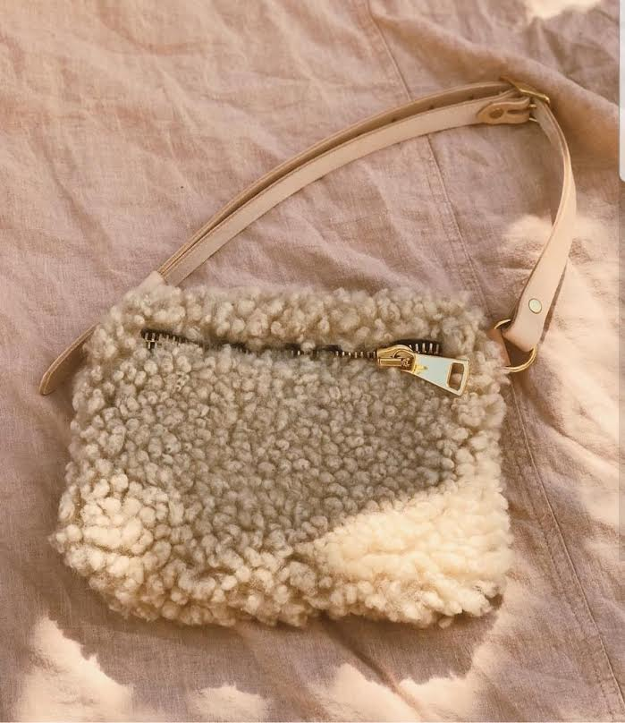 Your Bag of Holding Natural Curly Shearling with Gold Hardware bag
