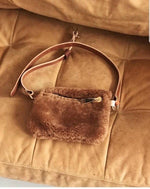 Your Bag of Holding camel shearling fanny pack w/ gold hardware & cognac brown strapping