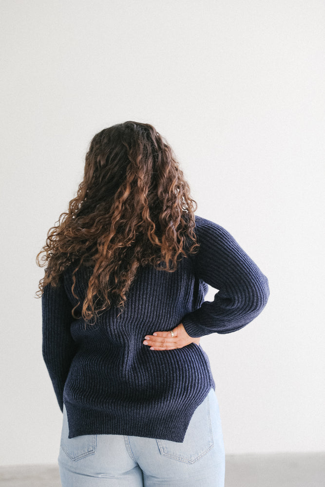 Load image into Gallery viewer, Mijeong Park Chunky Grandpa Sweater in Navy