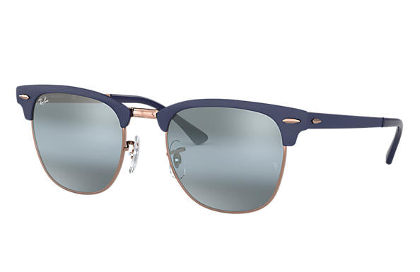 Ray Ban clubmaster metal gold top dark blue with blue gradient mirror