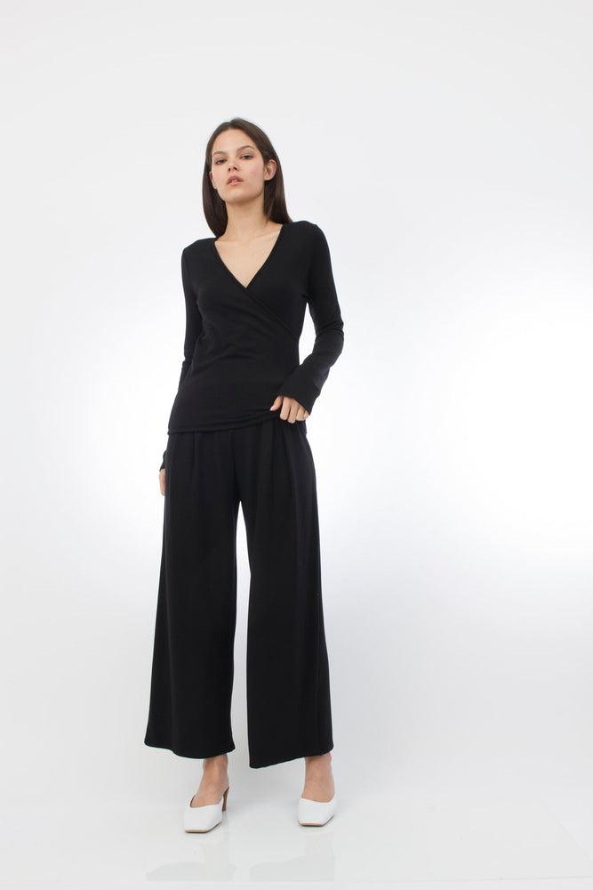 Corinne Erika Pleat Pants in Black