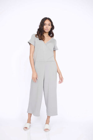 Load image into Gallery viewer, Corinne Theo wrap t-shirt wrap pant onesie