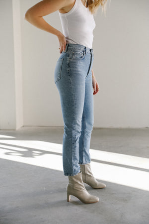 Load image into Gallery viewer, AGOLDE Riley High Rise Straight Denim in Blurr