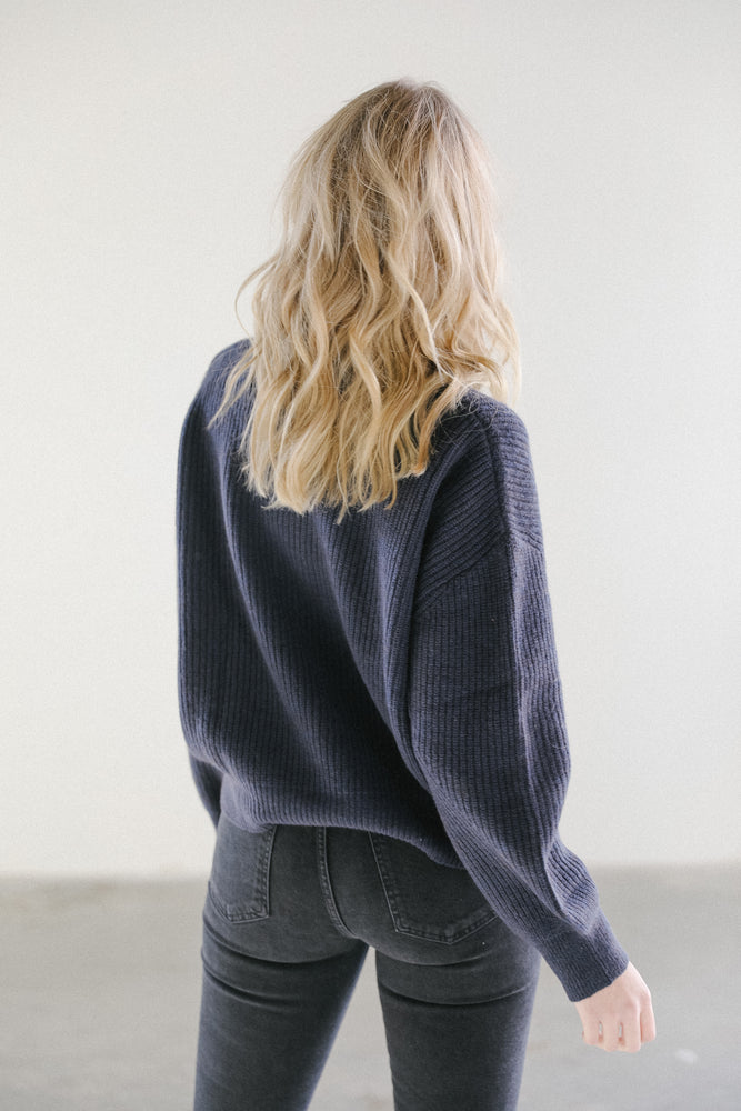 Load image into Gallery viewer, 7115 by Szeki Poet Sleeve Sweater in Navy