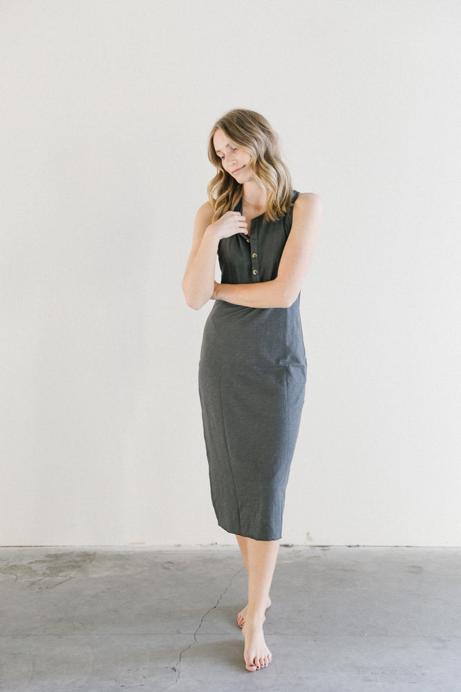 Mate the Label Avery Midi Dress in Charcoal
