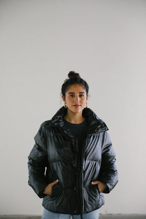 Rains Boxy Puffer Jacket in Black