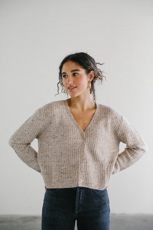 Load image into Gallery viewer, John and Jenn Dylan Knit Cardigan in Sepia