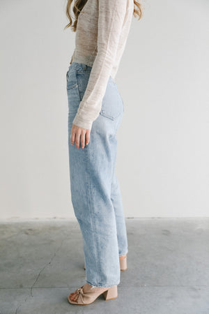 Agolde Criss Cross Denim in Suburbia