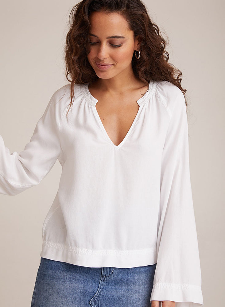 Load image into Gallery viewer, Bella Dahl FLowy Raglan Sleeve Shirt in White