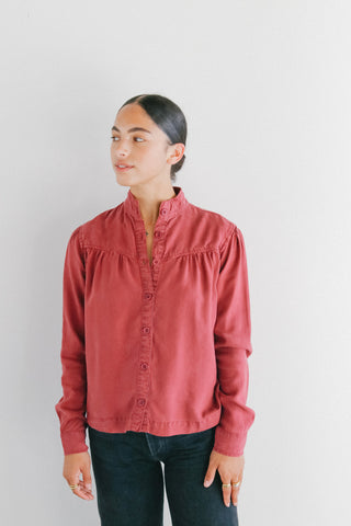 Bella Dahl Button Front Prairie Shirt in Cranberry
