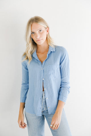 Bella Dahl Pocket Button Down in Santorini Blue