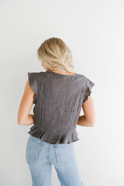 Bella Dahl Ruffle Sleeve Blouse in Nightshade