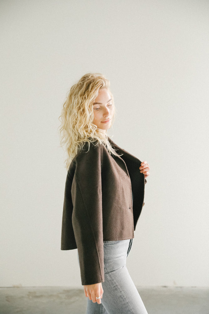 Load image into Gallery viewer, Mijeong Park Handmade Short Coat Brown