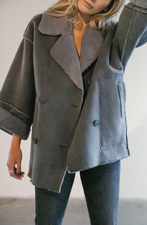 Load image into Gallery viewer, 7115 by Szeki Canvas Coat in Grey