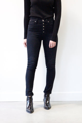 Citizens of Humanity Olivia Exposed Button Fly high rise jean in Licorice