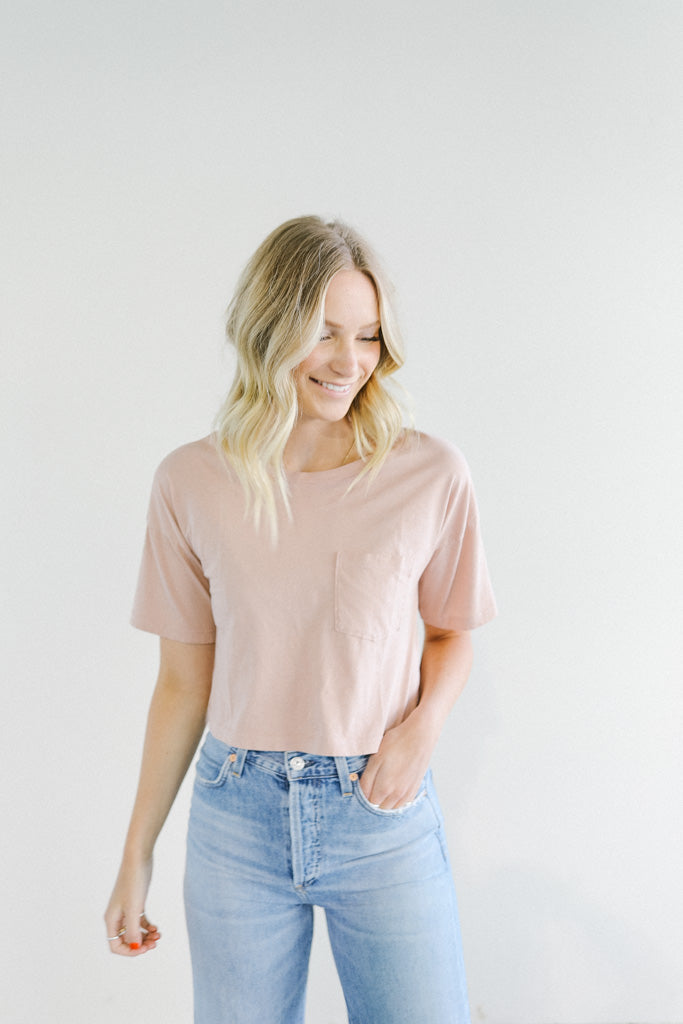 Mate the Label Brax Pocket T-Shirt in Rose