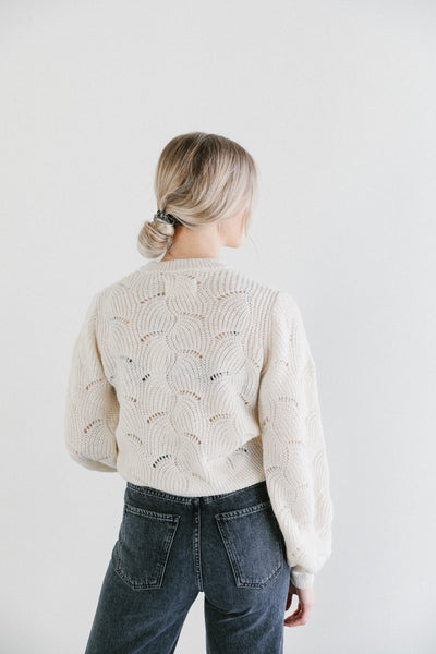 Rolla's Laura Sweater with balloon sleeve in vanilla