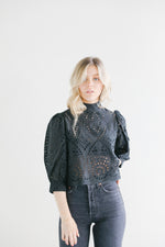Rolla's Stephanie Black Lace Blouse