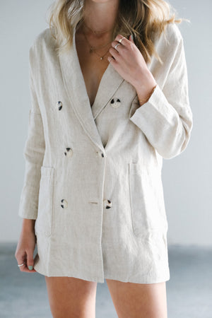 Load image into Gallery viewer, Rowie Darci Linen Blazer Jacket