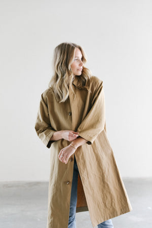 Mijeong Park Linen Trench Coat in Dark Beige