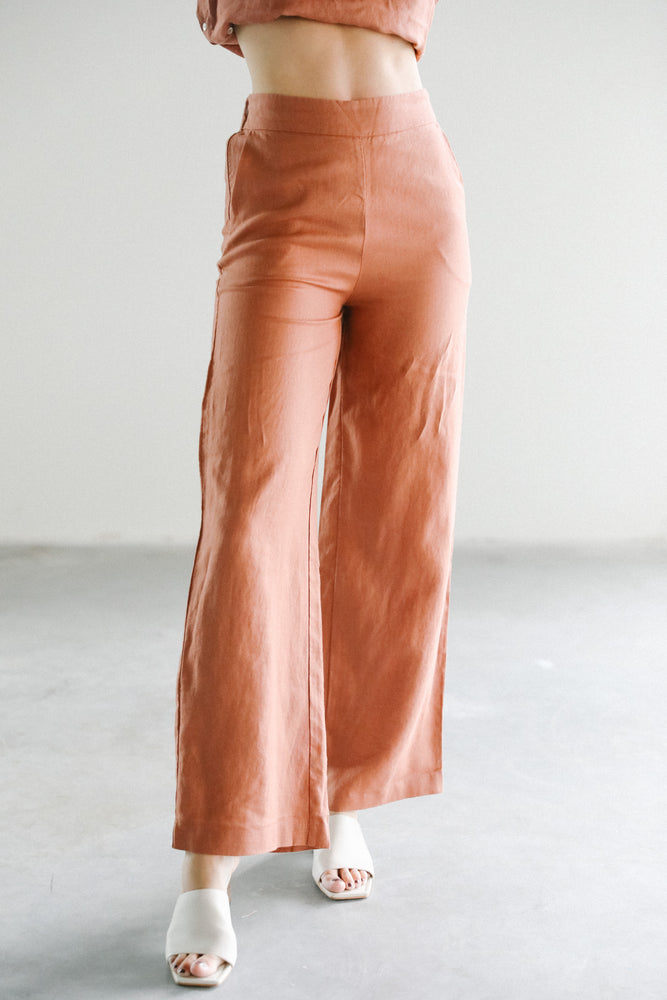 Lanhtropy Aurora Linen Pants in Terracotta