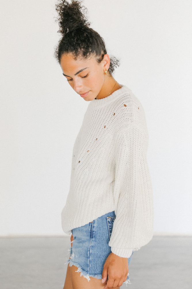 Load image into Gallery viewer, Rowie Fae Knit Sweater in Snow