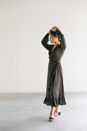 Just Female Imogene Maxi Wrap Dress in Mini Dot