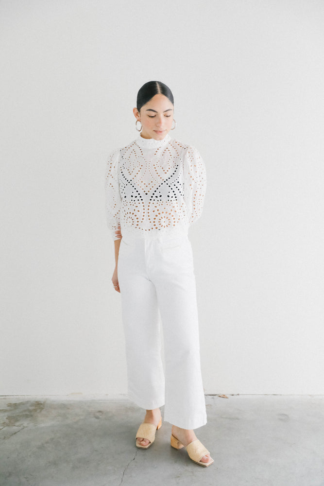 Rolla's Lace Blouse in White