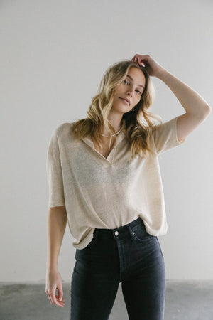 Rowie Harper Knit Shirt in Paperark