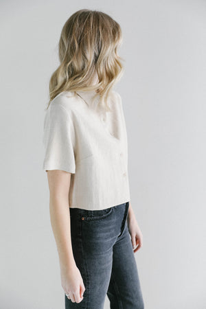 7115 Cropped Button Down Shirt in Oatmeal