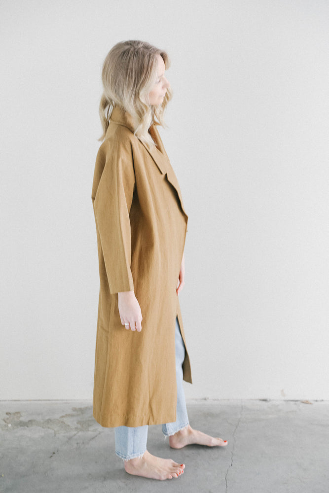 7115 Spring Lapel Overcoat in Caramel