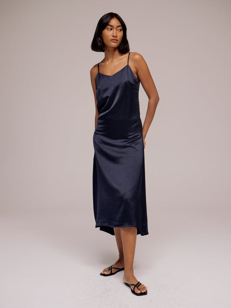 Mijeong Park Satin Slip Dress in Navy