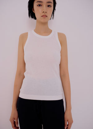 Load image into Gallery viewer, Mijeong Park Ribbed Tank in White