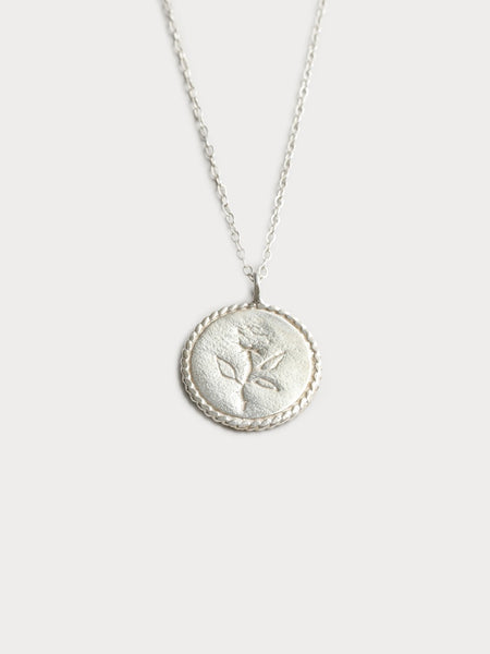 Wolf Circus Rose Coin Necklace in Sterling Silver