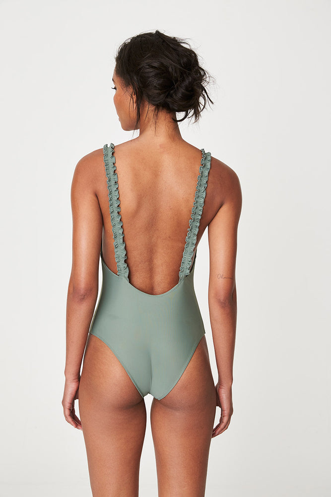 Rowie Holiday One Piece Swim in Army