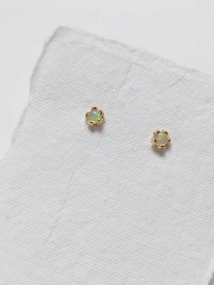Little Gold Tiny Opal Flower Earrings